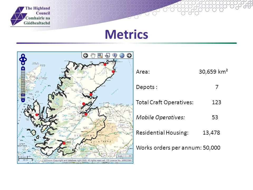 Metrics Area: 30,659 km² Depots : 7 Total Craft Operatives: 123 Mobile Operatives:53 Residential Housing: 13,478 Works orders per annum: 50,000 Residential Housing: Maintenance Depots: