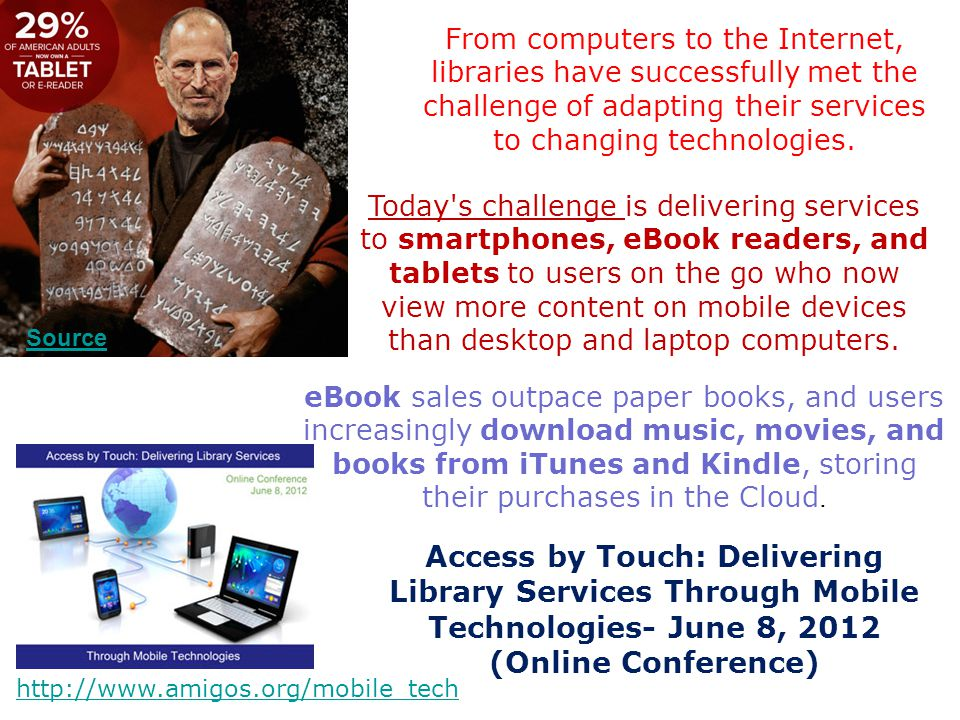 From computers to the Internet, libraries have successfully met the challenge of adapting their services to changing technologies.