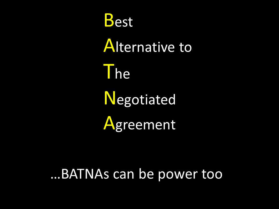 B est A lternative to T he N egotiated A greement …BATNAs can be power too