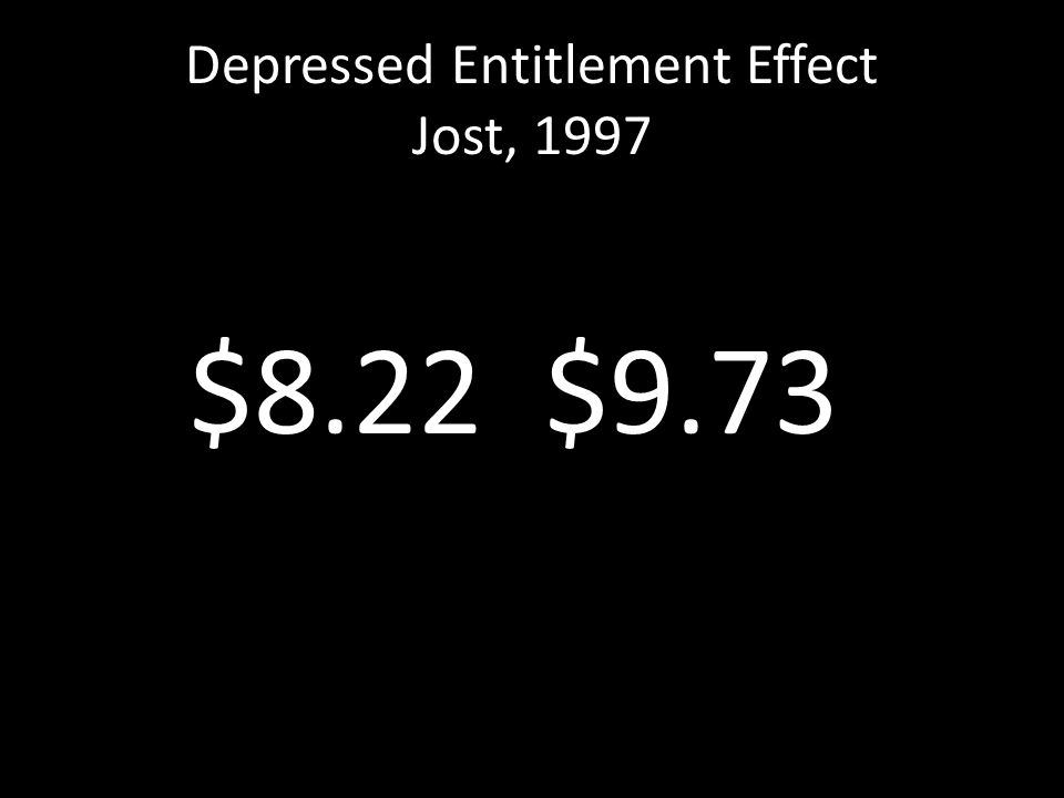 Depressed Entitlement Effect Jost, 1997 $8.22 $9.73