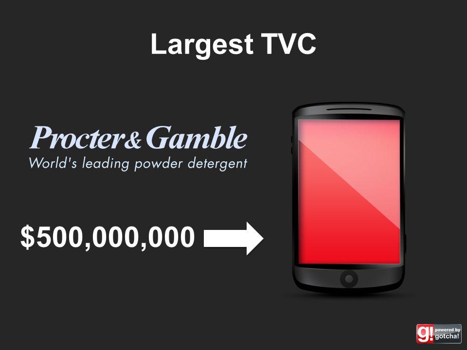 Largest TVC $500,000,000