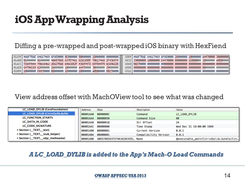 iOS App Wrapping Analysis Diffing a pre-wrapped and post-wrapped iOS binary with HexFiend 14 View address offset with MachOView tool to see what was c