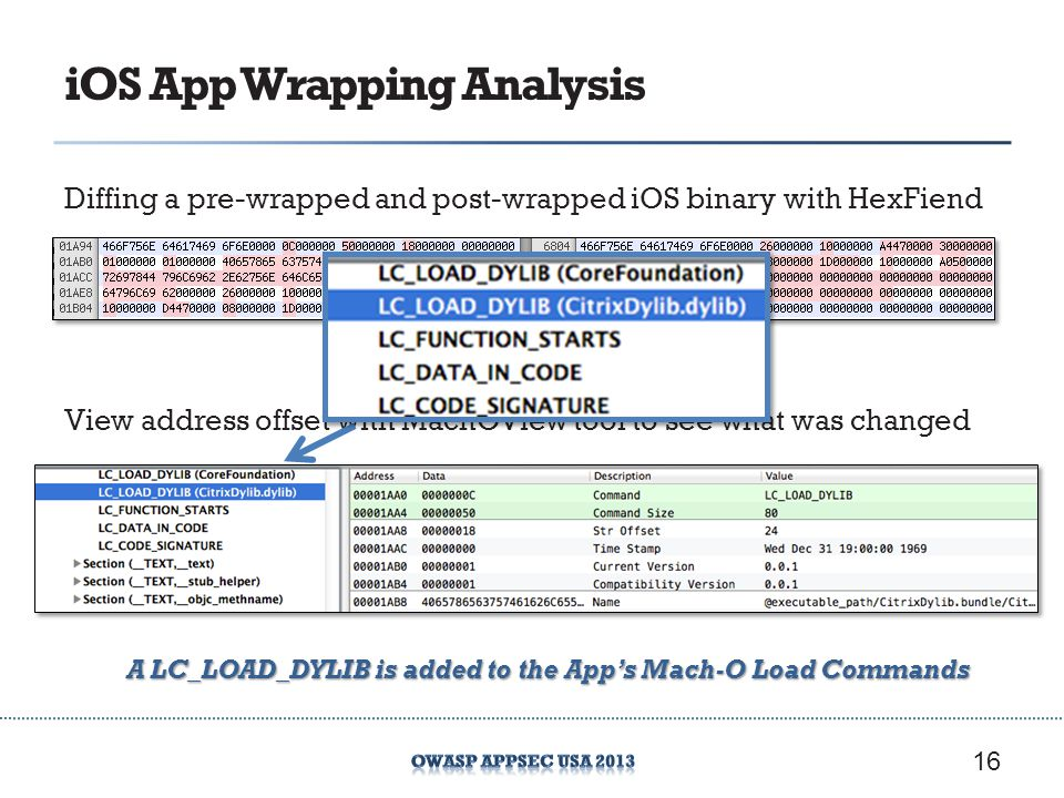 iOS App Wrapping Analysis Diffing a pre-wrapped and post-wrapped iOS binary with HexFiend 16 View address offset with MachOView tool to see what was changed A LC_LOAD_DYLIB is added to the Apps Mach-O Load Commands