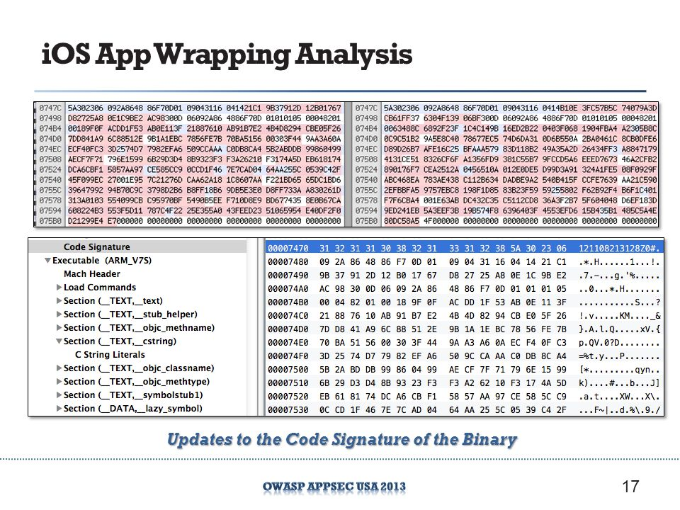 iOS App Wrapping Analysis 17 Updates to the Code Signature of the Binary