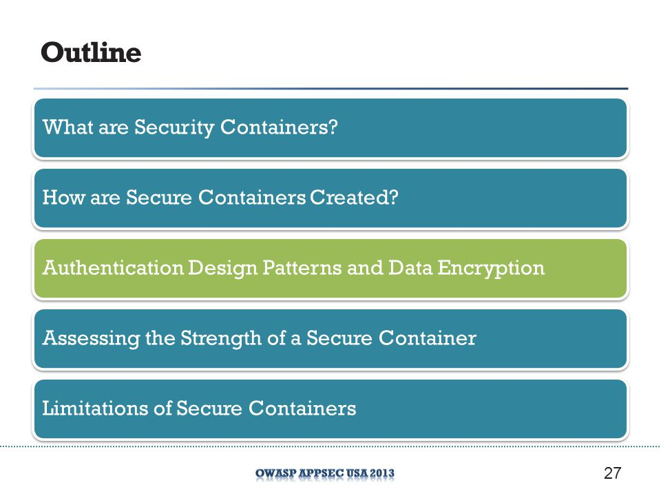 Outline What are Security Containers?How are Secure Containers Created?Authentication Design Patterns and Data EncryptionAssessing the Strength of a Secure ContainerLimitations of Secure Containers 27