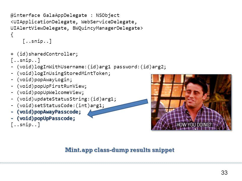 33 Mint.app class-dump results snippet