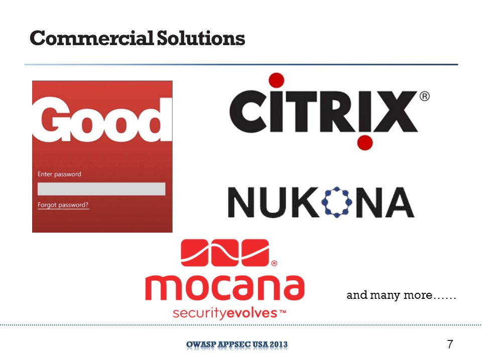 Commercial Solutions 7 and many more……