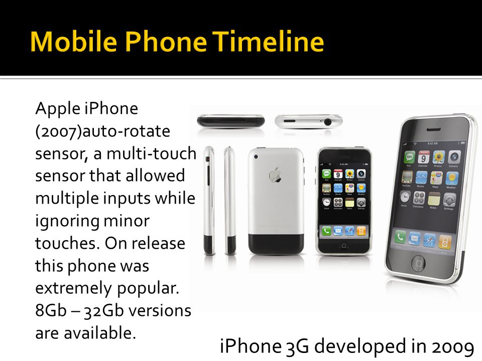 Apple iPhone (2007)auto-rotate sensor, a multi-touch sensor that allowed multiple inputs while ignoring minor touches. On release this phone was extre