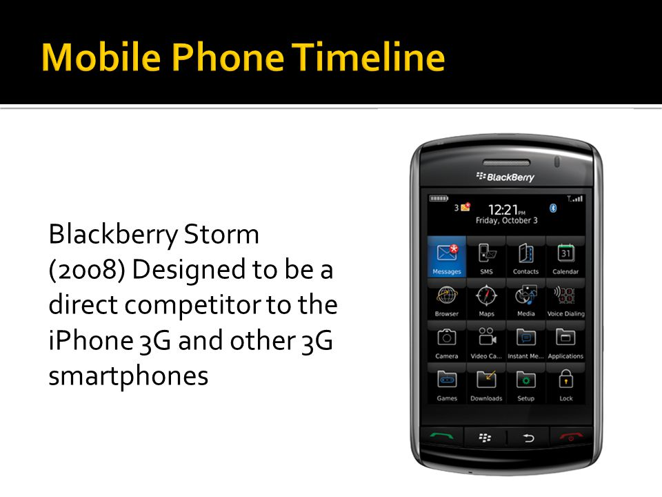 Blackberry Storm (2008) Designed to be a direct competitor to the iPhone 3G and other 3G smartphones