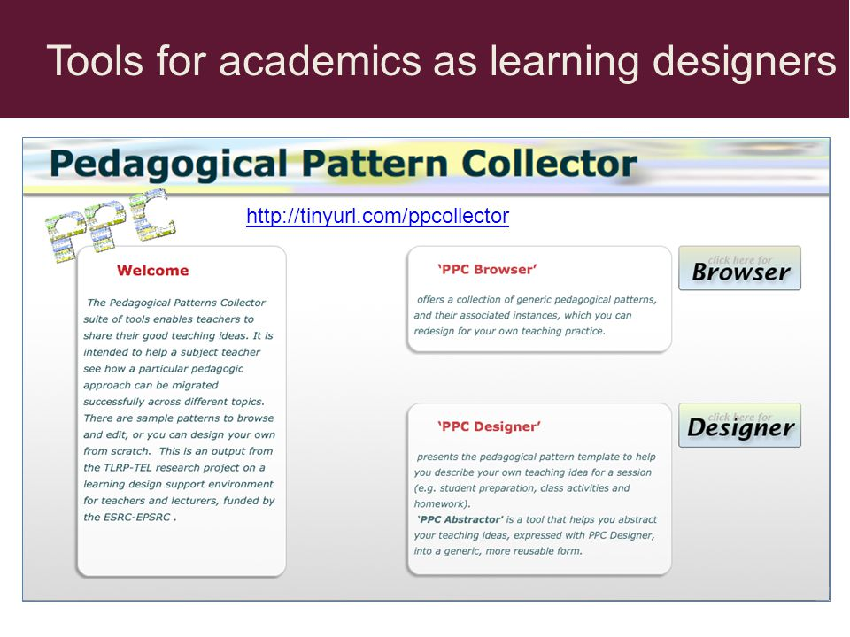Tools for academics as learning designers http://tinyurl.com/ppcollector