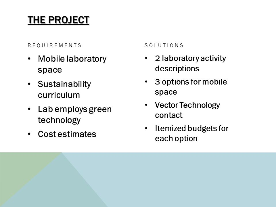 THE PROJECT REQUIREMENTS Mobile laboratory space Sustainability curriculum Lab employs green technology Cost estimates SOLUTIONS 2 laboratory activity descriptions 3 options for mobile space Vector Technology contact Itemized budgets for each option