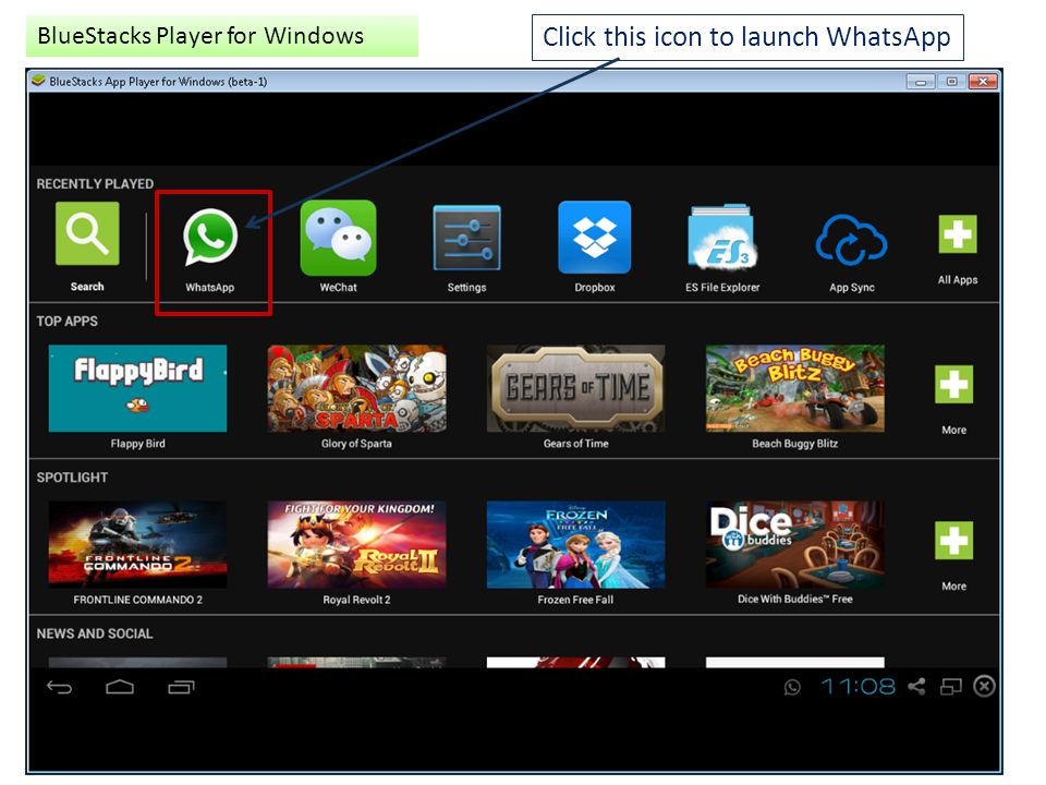 Click this icon to launch WhatsApp BlueStacks Player for Windows