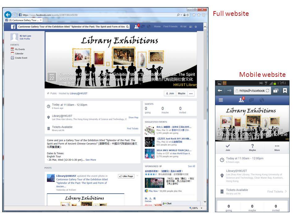 Full website Mobile website