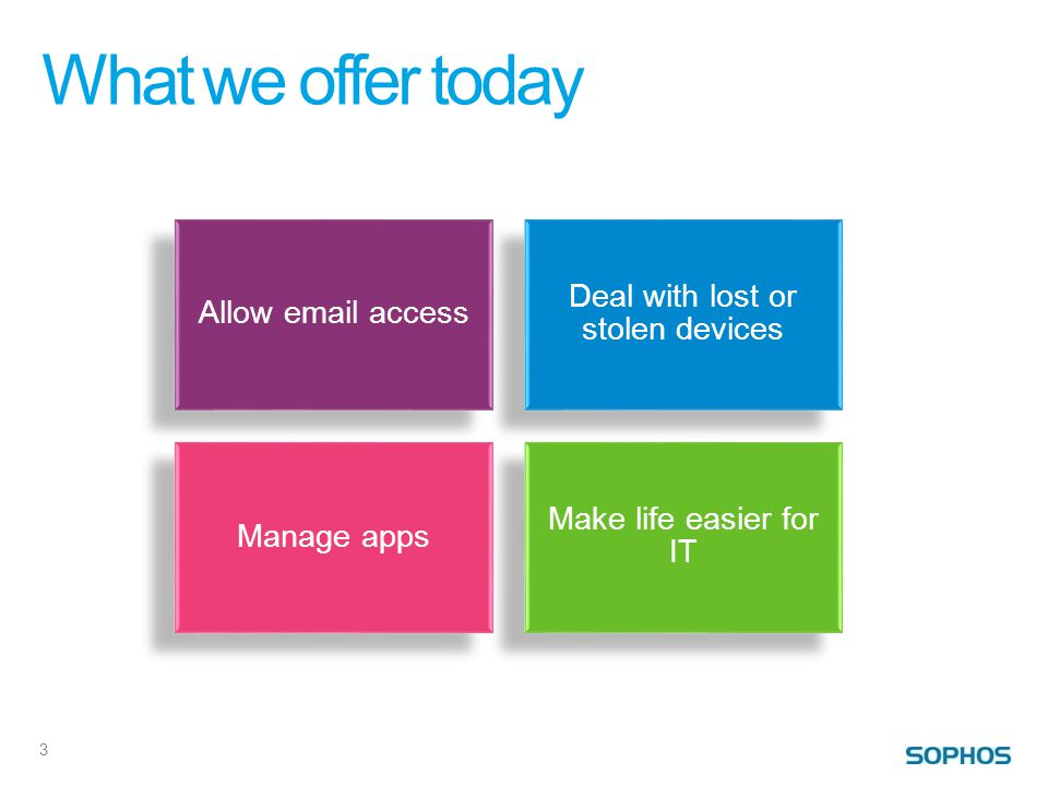 What we offer today 3 Allow email access Deal with lost or stolen devices Manage apps Make life easier for IT