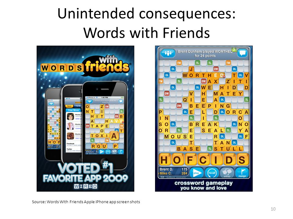 Unintended consequences: Words with Friends Source: Words With Friends Apple iPhone app screen shots 10