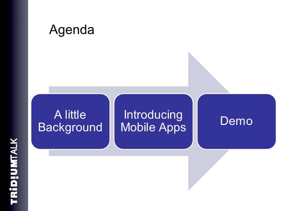 Agenda A little Background Introducing Mobile Apps Demo