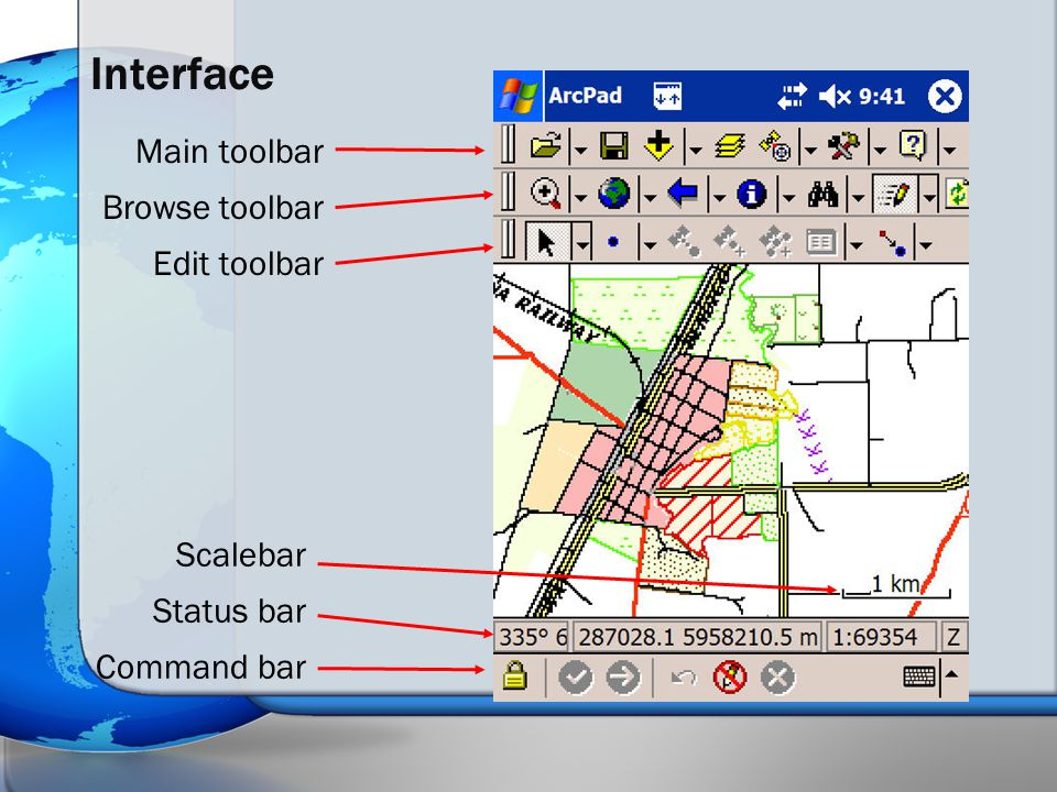 Interface Main toolbar Browse toolbar Edit toolbar Scalebar Status bar Command bar