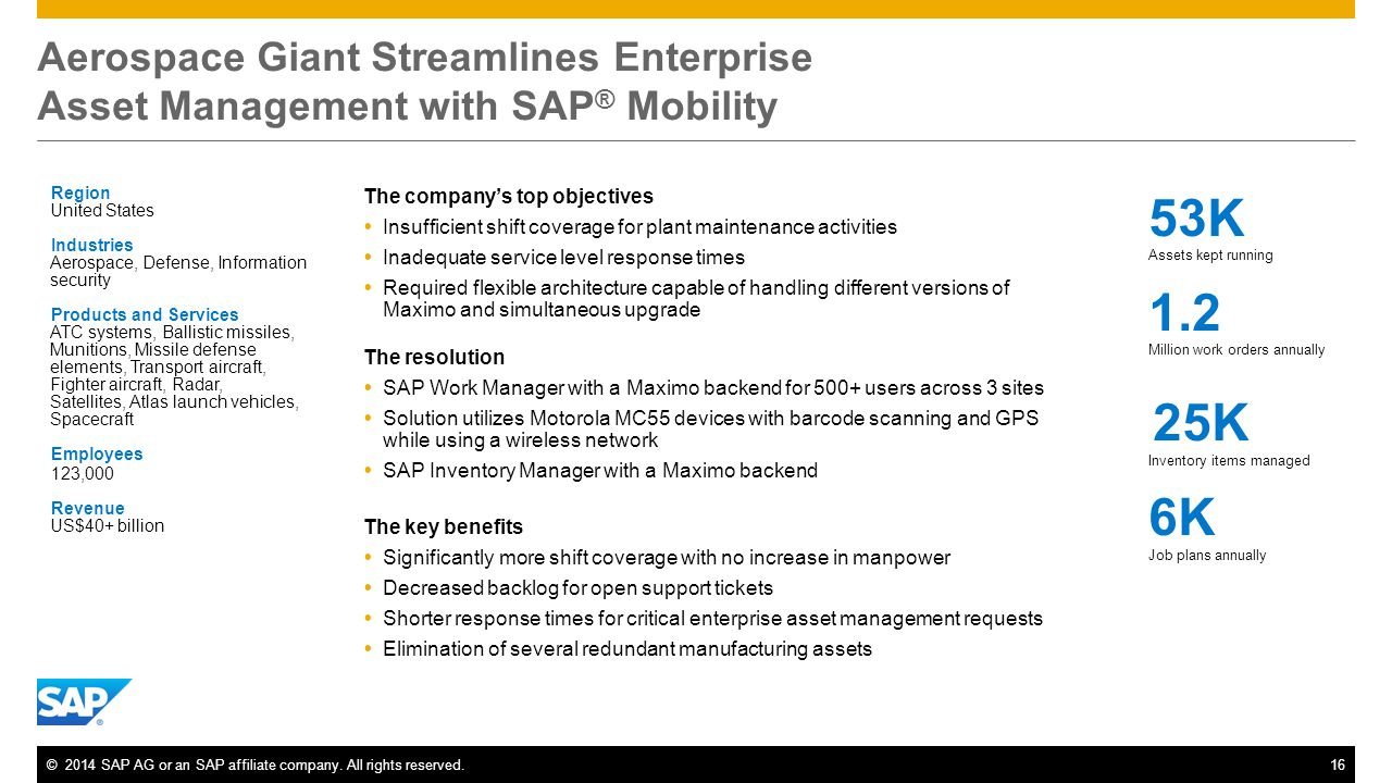 ©2014 SAP AG or an SAP affiliate company. All rights reserved.16 Aerospace Giant Streamlines Enterprise Asset Management with SAP ® Mobility Region Un