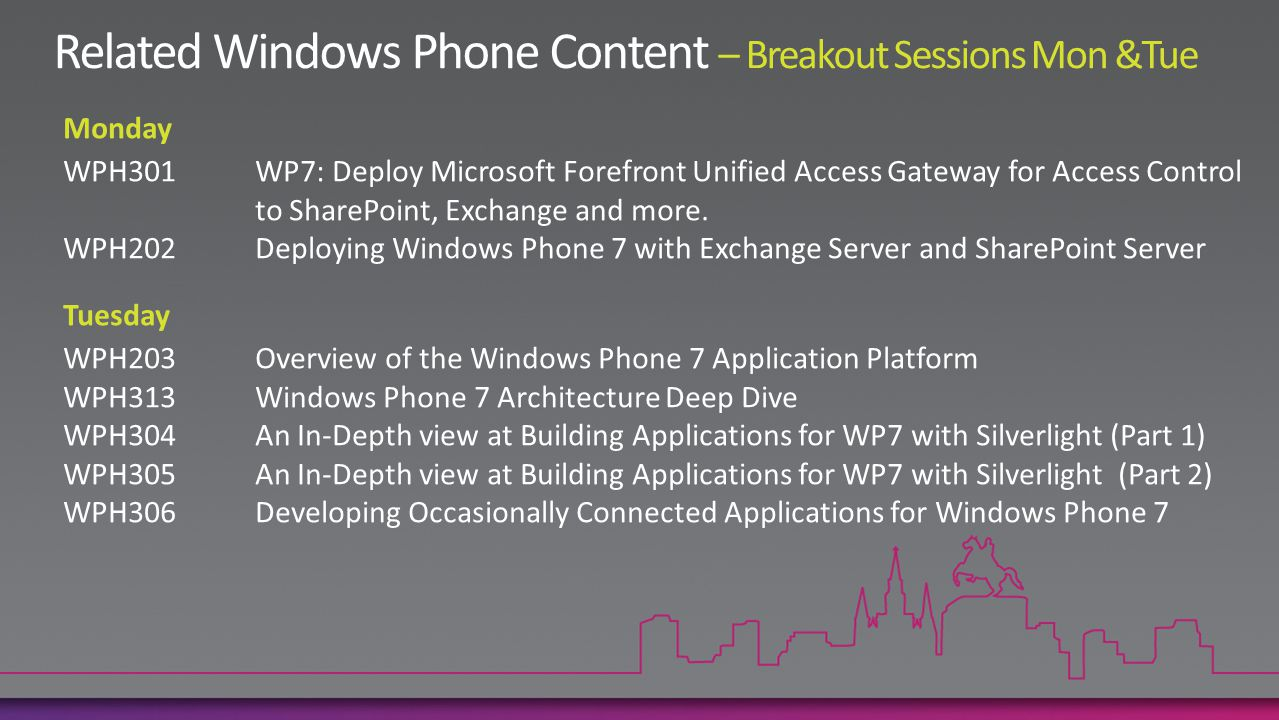 Monday WPH301WP7: Deploy Microsoft Forefront Unified Access Gateway for Access Control to SharePoint, Exchange and more.