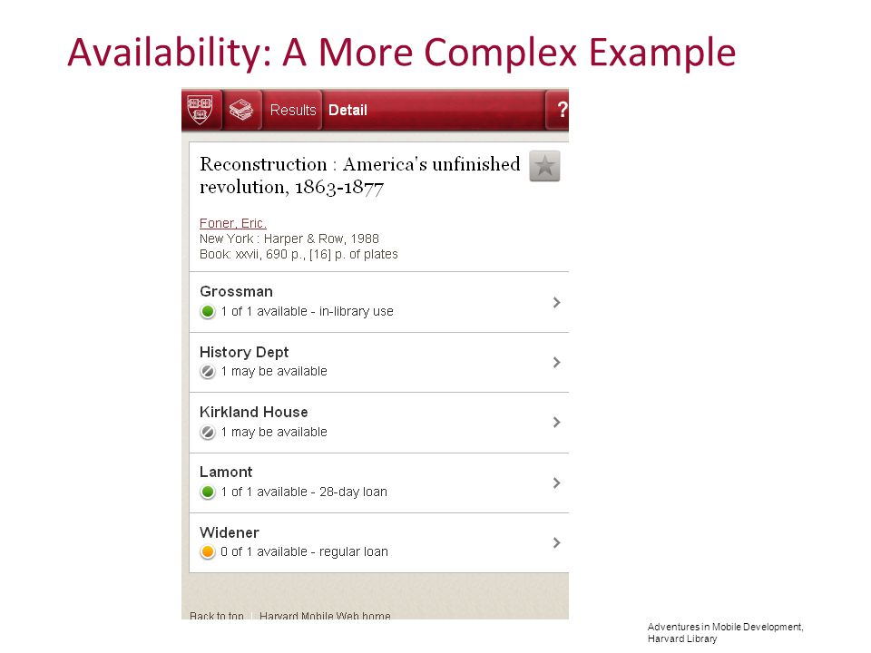 Adventures in Mobile Development, Harvard Library Availability: A More Complex Example