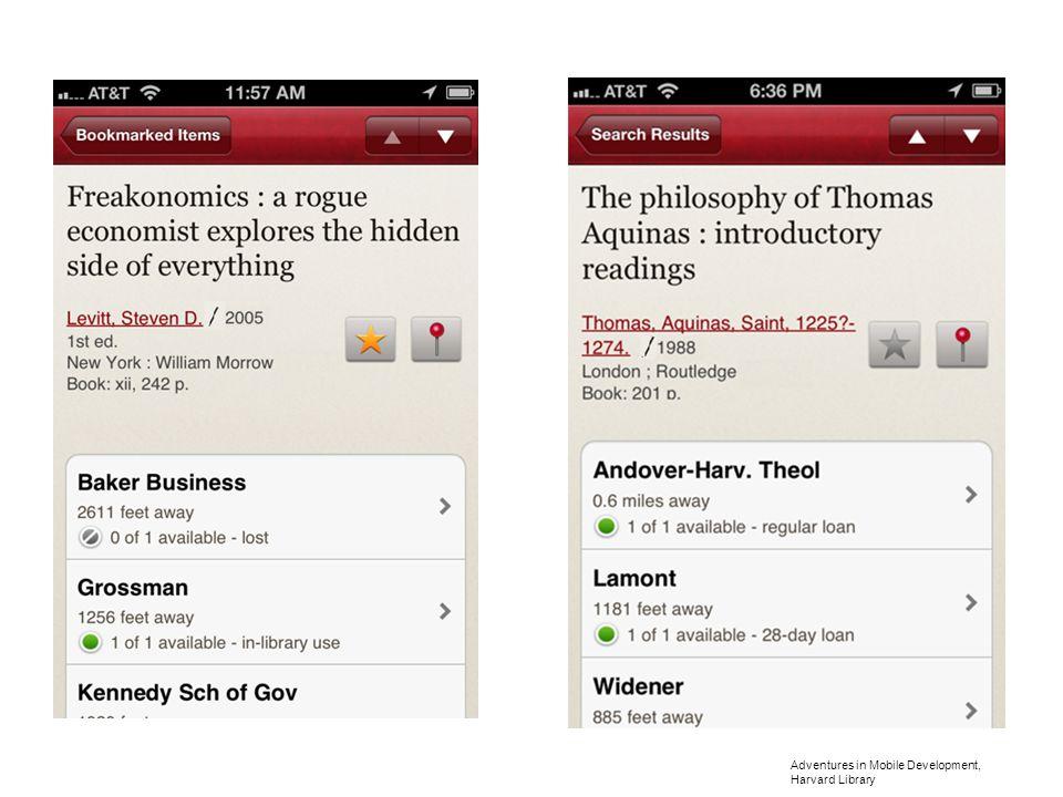 Adventures in Mobile Development, Harvard Library