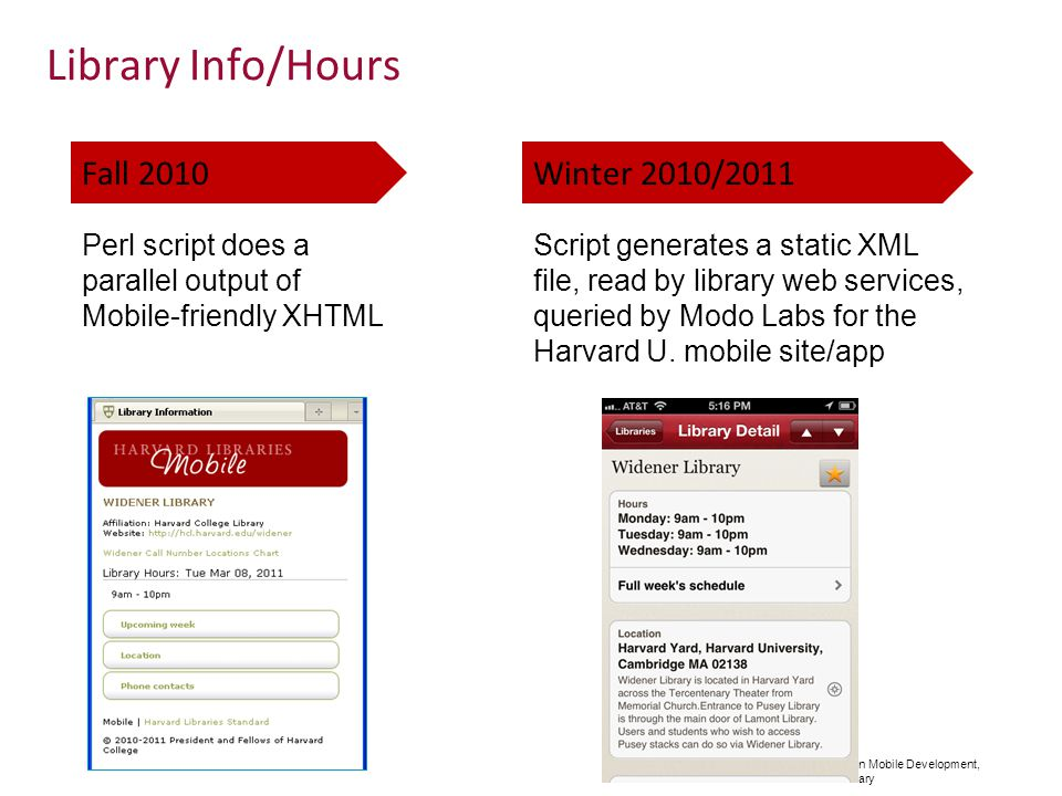 Adventures in Mobile Development, Harvard Library Library Info/Hours Fall 2010Winter 2010/2011 Perl script does a parallel output of Mobile-friendly XHTML Script generates a static XML file, read by library web services, queried by Modo Labs for the Harvard U.