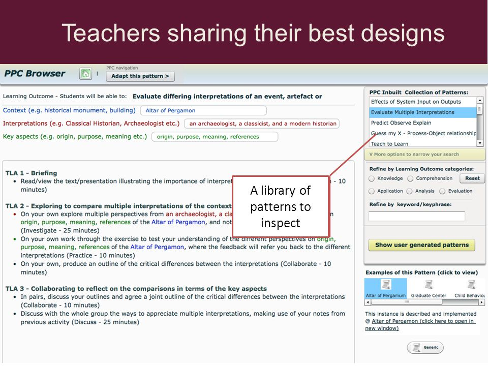 A library of patterns to inspect Teachers sharing their best designs