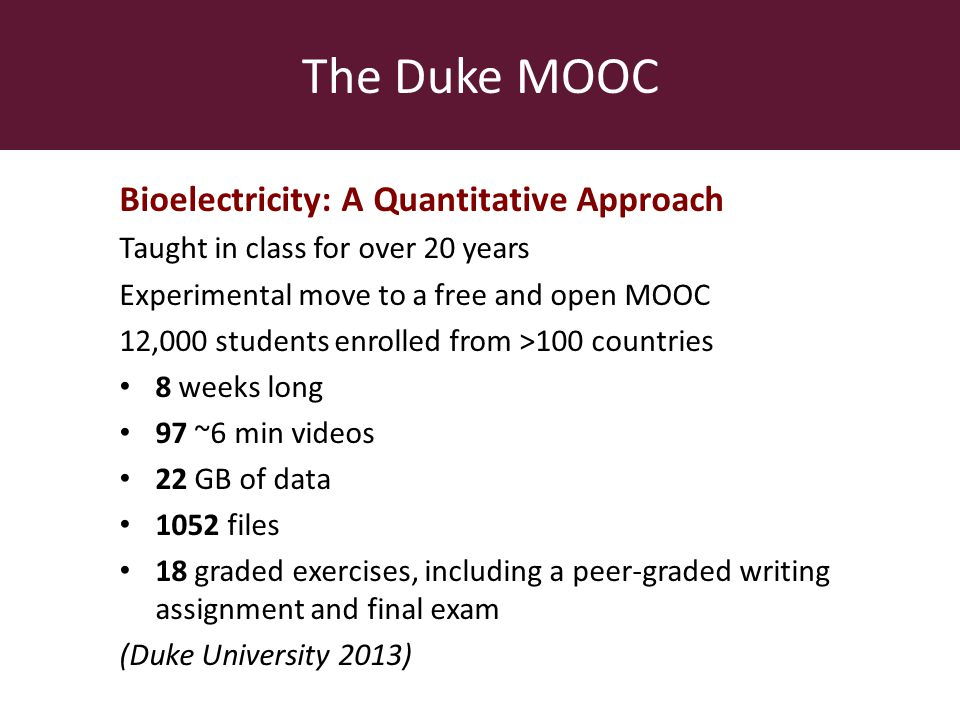 The Duke MOOC Bioelectricity: A Quantitative Approach Taught in class for over 20 years Experimental move to a free and open MOOC 12,000 students enrolled from >100 countries 8 weeks long 97 ~6 min videos 22 GB of data 1052 files 18 graded exercises, including a peer-graded writing assignment and final exam (Duke University 2013)