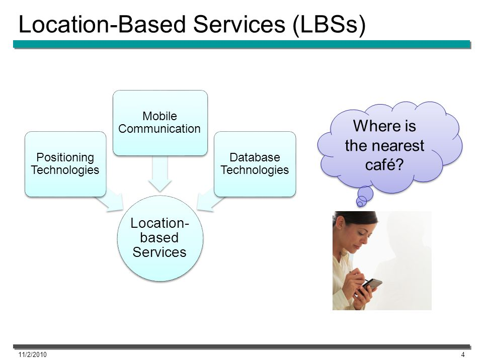 Profile-Based LBSs LBSs typically utilize user locations and map information –Finding nearby restaurants –Presenting a map around the user –Computing the best route to the destination Use of user profiles (users property) can improve the quality of service –Property- and location-based services –Application areas Mobile shopping Mobile advertisements 11/2/20105