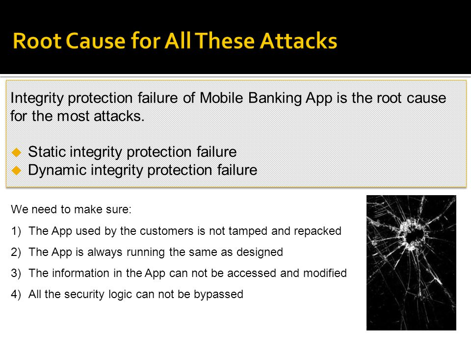 Integrity protection failure of Mobile Banking App is the root cause for the most attacks. Static integrity protection failure Dynamic integrity prote