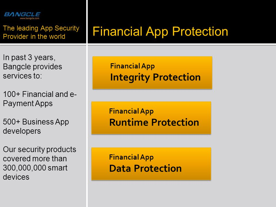 2013 Financial App Protection Financial App Integrity Protection In past 3 years, Bangcle provides services to: 100+ Financial and e- Payment Apps 500