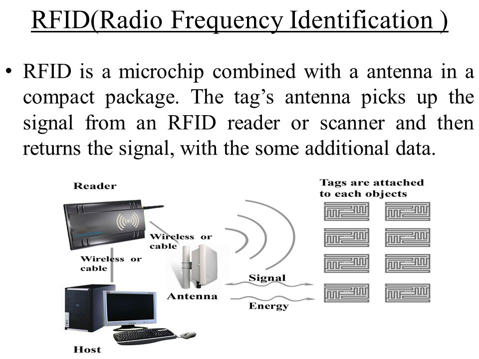 RFID(Radio Frequency Identification ) RFID is a microchip combined with a antenna in a compact package. The tags antenna picks up the signal from an R