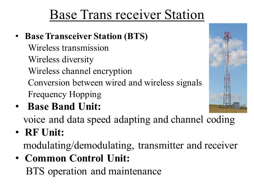 Base Trans receiver Station Base Transceiver Station (BTS) Wireless transmission Wireless diversity Wireless channel encryption Conversion between wir