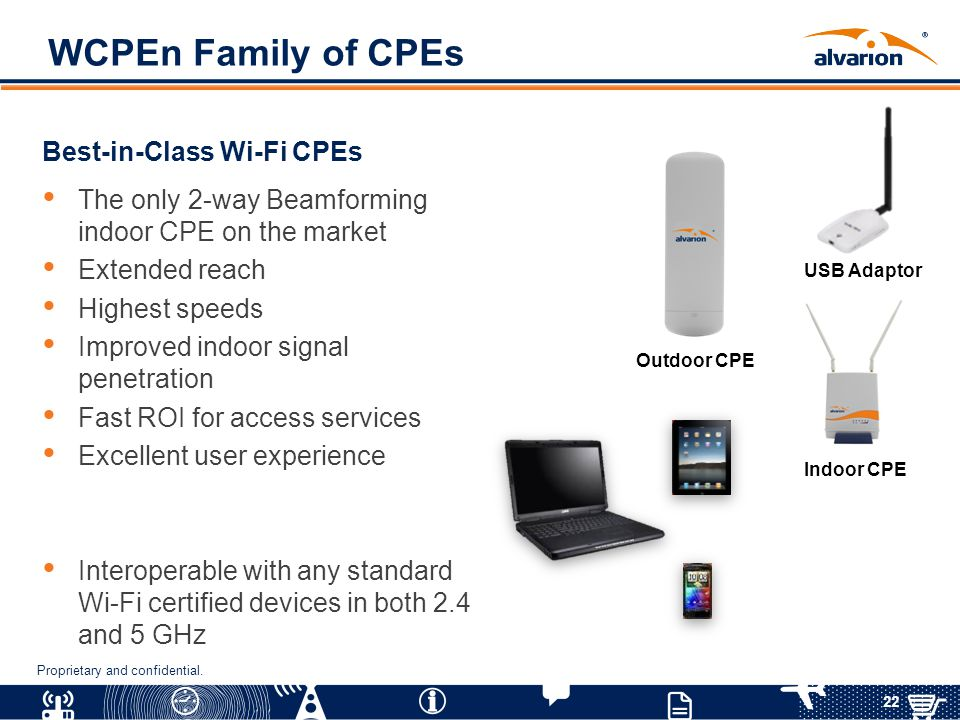 22 Proprietary and confidential. WCPEn Family of CPEs Best-in-Class Wi-Fi CPEs The only 2-way Beamforming indoor CPE on the market Extended reach High