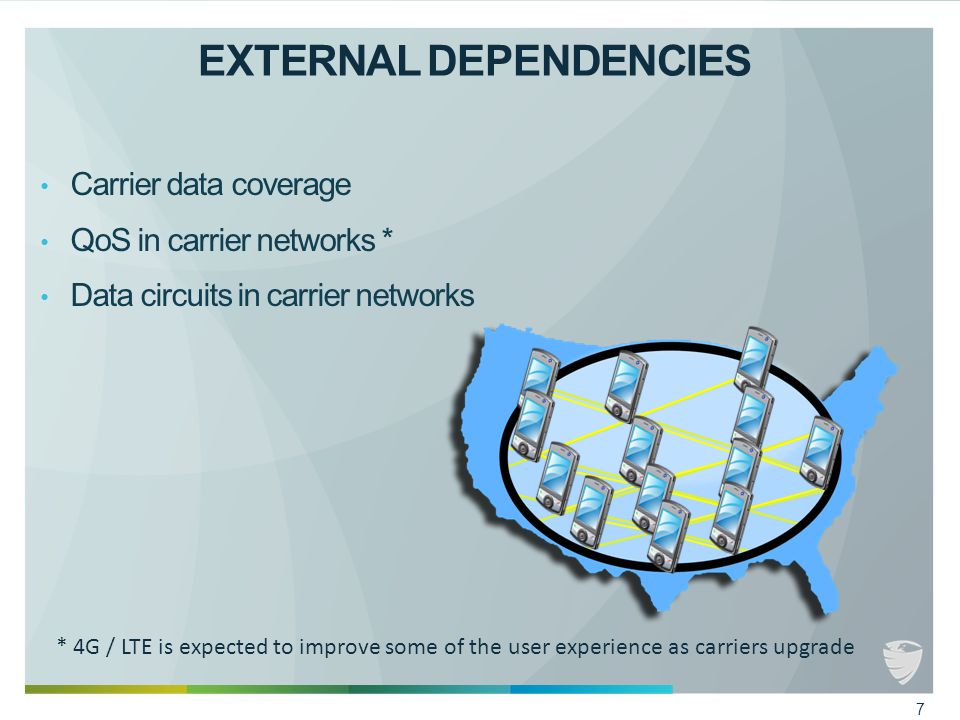 EXTERNAL DEPENDENCIES Carrier data coverage QoS in carrier networks * Data circuits in carrier networks * 4G / LTE is expected to improve some of the user experience as carriers upgrade 7