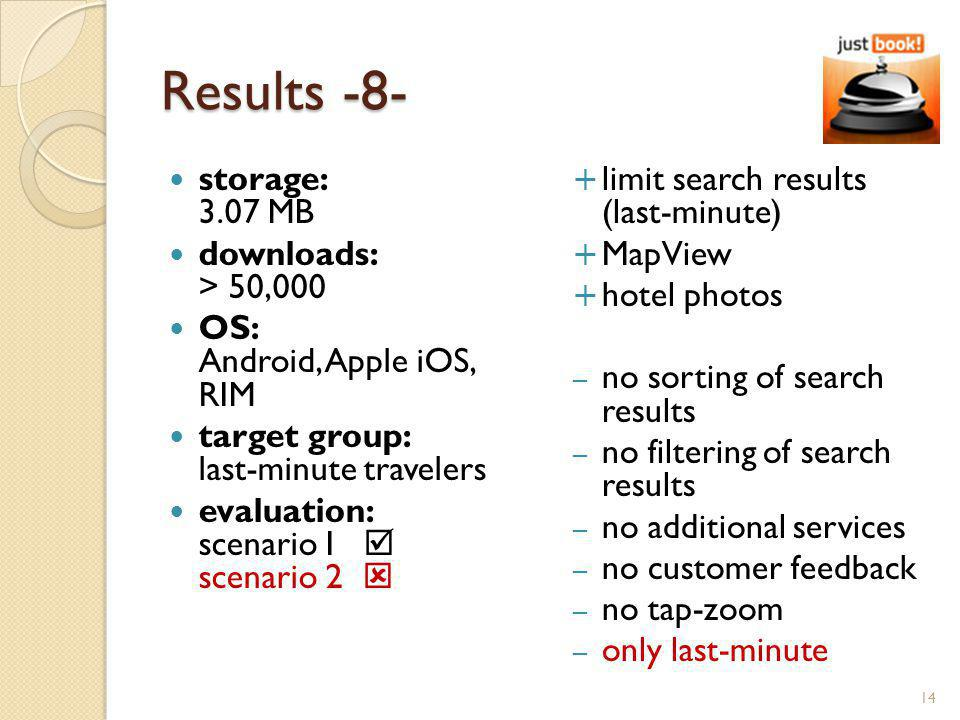 Results -8- storage: 3.07 MB downloads: > 50,000 OS: Android, Apple iOS, RIM target group: last-minute travelers evaluation: scenario I scenario 2 limit search results (last-minute) MapView hotel photos – no sorting of search results – no filtering of search results – no additional services – no customer feedback – no tap-zoom – only last-minute 14