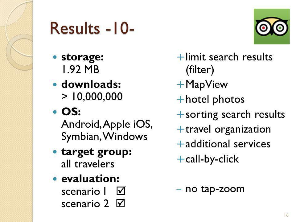 Results -10- storage: 1.92 MB downloads: > 10,000,000 OS: Android, Apple iOS, Symbian, Windows target group: all travelers evaluation: scenario I scenario 2 limit search results (filter) MapView hotel photos sorting search results travel organization additional services call-by-click – no tap-zoom 16