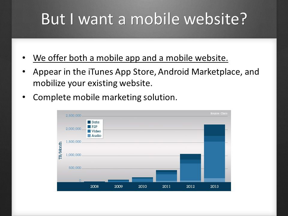 But I want a mobile website. We offer both a mobile app and a mobile website.