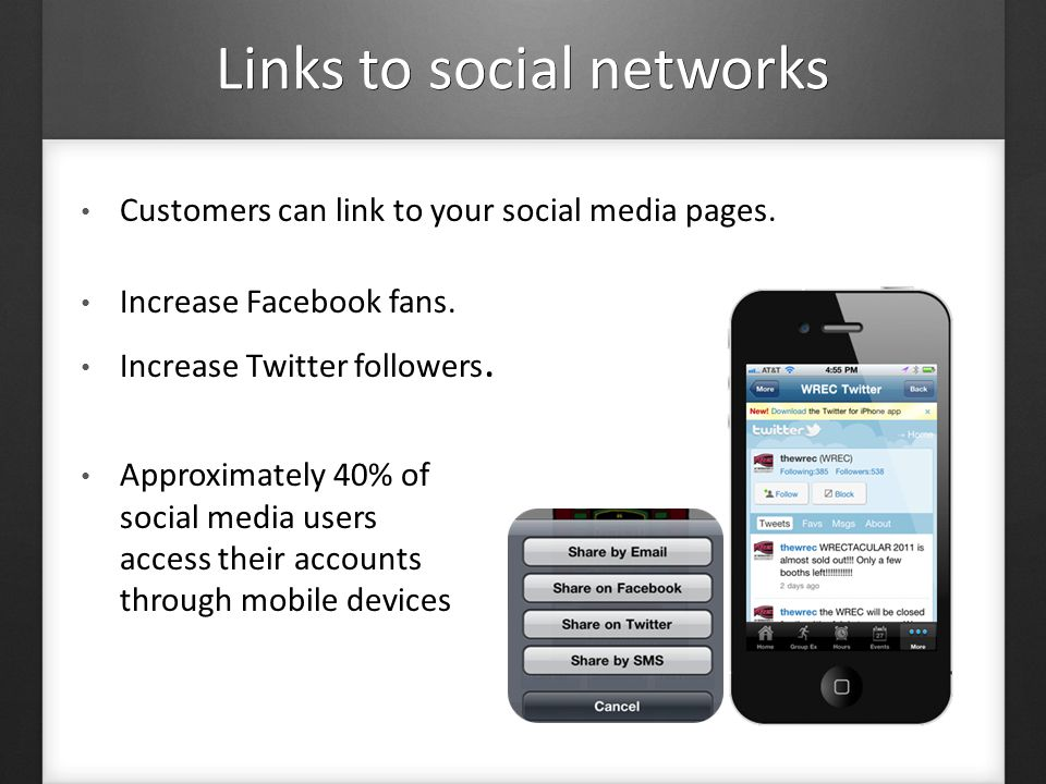 Links to social networks Customers can link to your social media pages.