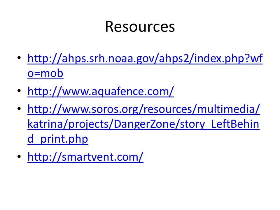 Resources http://ahps.srh.noaa.gov/ahps2/index.php wf o=mob http://ahps.srh.noaa.gov/ahps2/index.php wf o=mob http://www.aquafence.com/ http://www.soros.org/resources/multimedia/ katrina/projects/DangerZone/story_LeftBehin d_print.php http://www.soros.org/resources/multimedia/ katrina/projects/DangerZone/story_LeftBehin d_print.php http://smartvent.com/