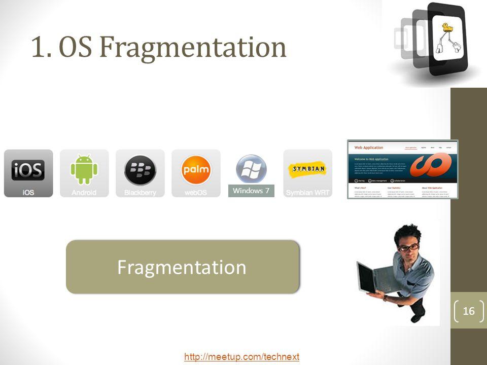 http://meetup.com/technext 16 1. OS Fragmentation Windows 7 Fragmentation