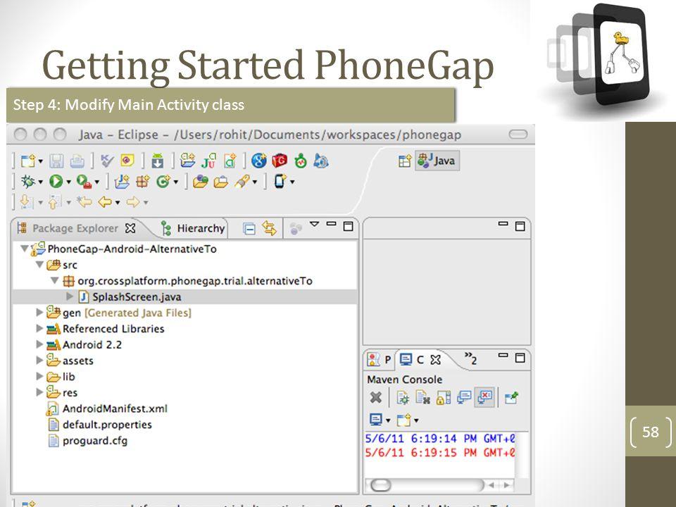 http://meetup.com/technext Getting Started PhoneGap 58 Step 4: Modify Main Activity class