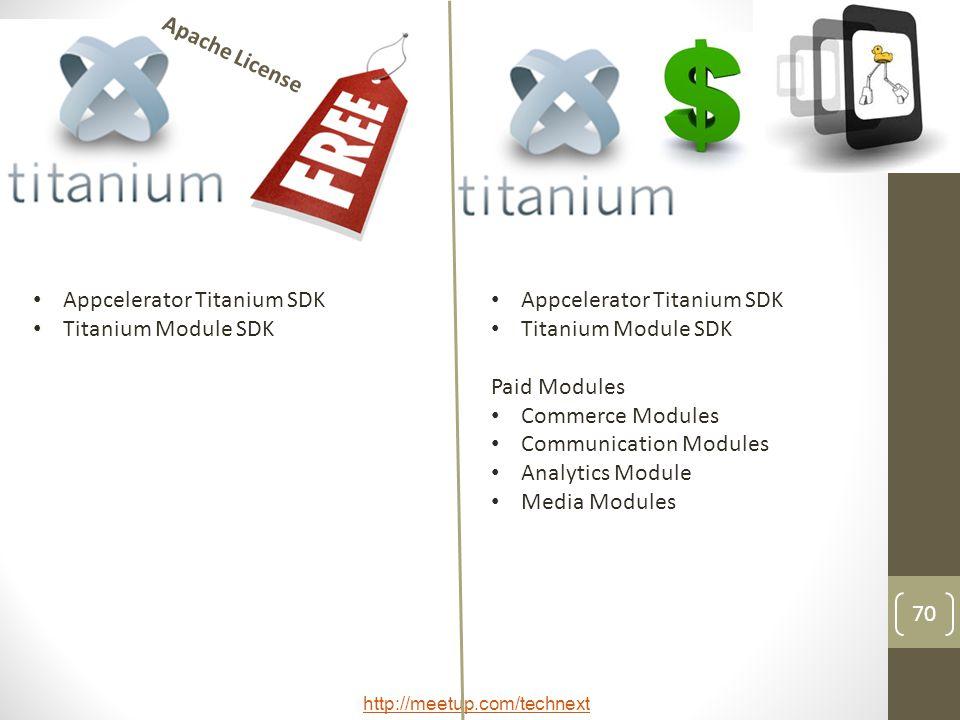 http://meetup.com/technext 70 Appcelerator Titanium SDK Titanium Module SDK Appcelerator Titanium SDK Titanium Module SDK Paid Modules Commerce Modules Communication Modules Analytics Module Media Modules Apache License