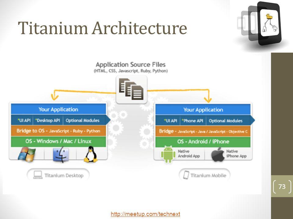 http://meetup.com/technext 73 Titanium Architecture