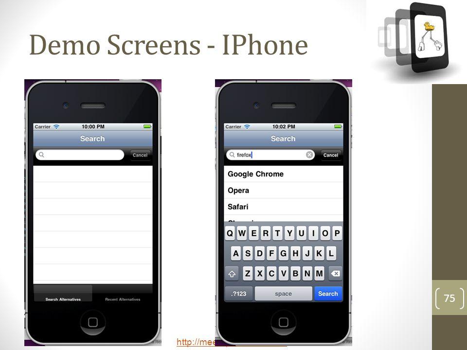 http://meetup.com/technext 75 Demo Screens - IPhone
