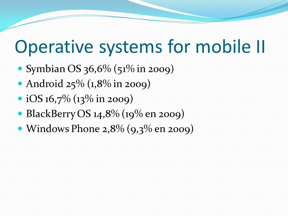 Operative systems for mobile II Symbian OS 36,6% (51% in 2009) Android 25% (1,8% in 2009) iOS 16,7% (13% in 2009) BlackBerry OS 14,8% (19% en 2009) Windows Phone 2,8% (9,3% en 2009)