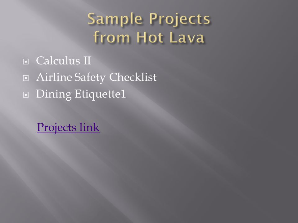 Calculus II Airline Safety Checklist Dining Etiquette1 Projects link