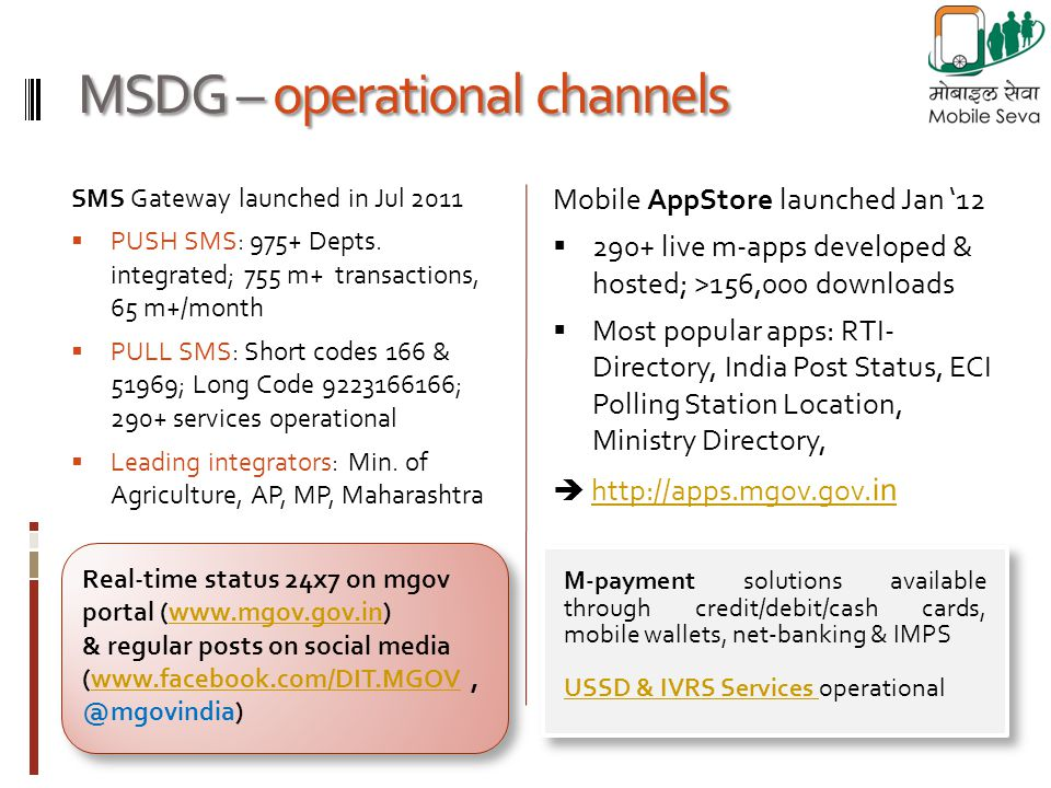 MSDG – operational channels Mobile AppStore launched Jan 12 290+ live m-apps developed & hosted; >156,000 downloads Most popular apps: RTI- Directory,