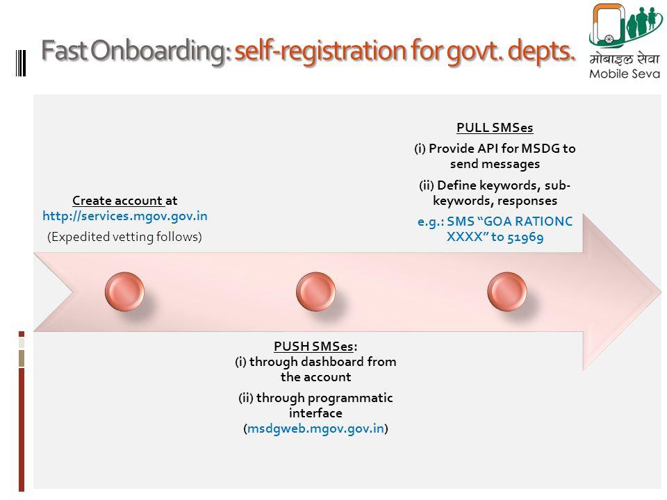 Fast Onboarding: self-registration for govt. depts.