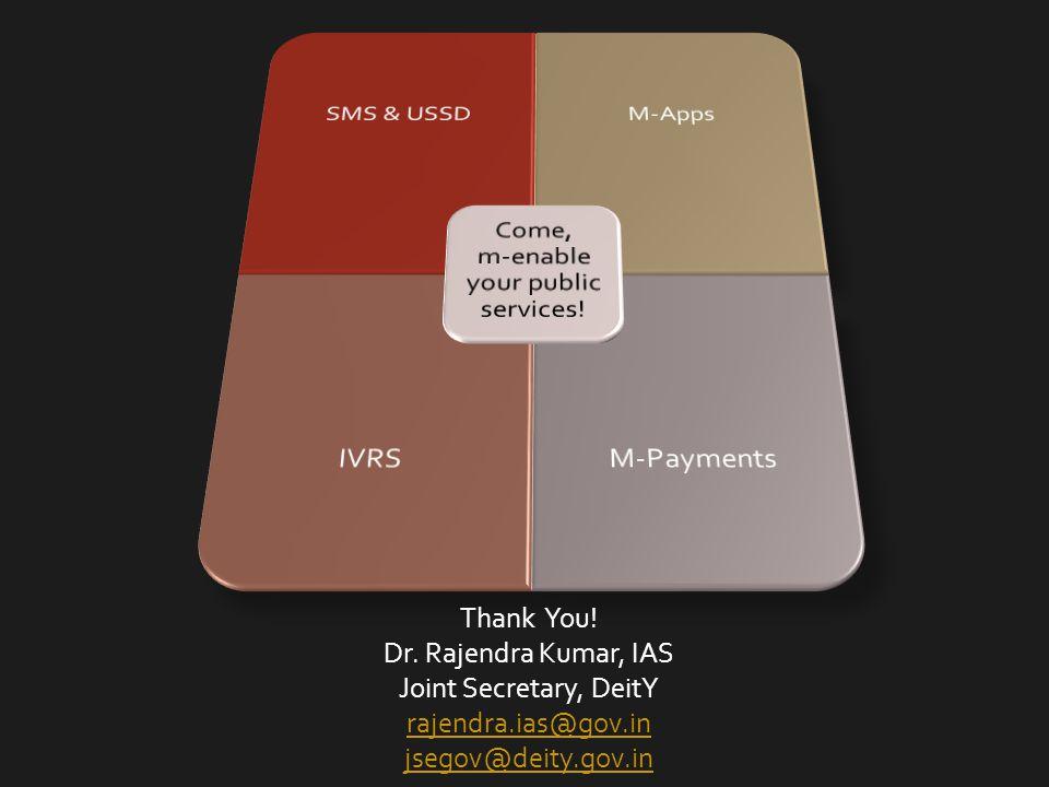 Thank You! Dr. Rajendra Kumar, IAS Joint Secretary, DeitY rajendra.ias@gov.in jsegov@deity.gov.in